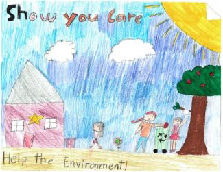 "Drawing of a family recycling and text ""Show you Care - Help the Environment!"""