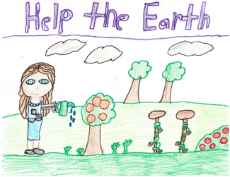 "Drawing of a girl watering flowers and text ""Help the Earth"""
